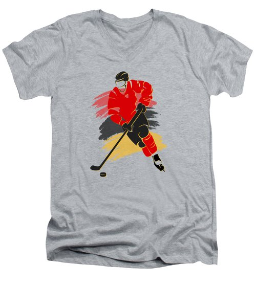 Calgary Flames Player Shirt Men's V-Neck T-Shirt by Joe Hamilton