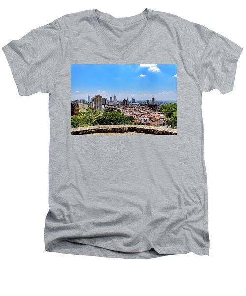 Cali Skyline Men's V-Neck T-Shirt by Randy Scherkenbach