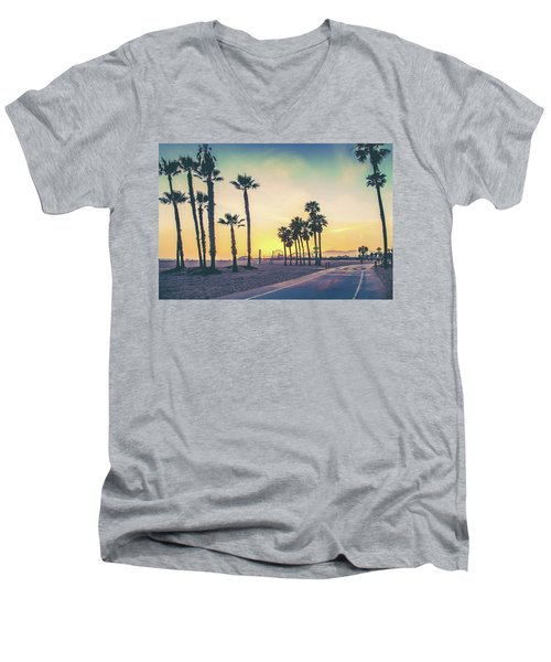 Cali Sunset Men's V-Neck T-Shirt by Az Jackson