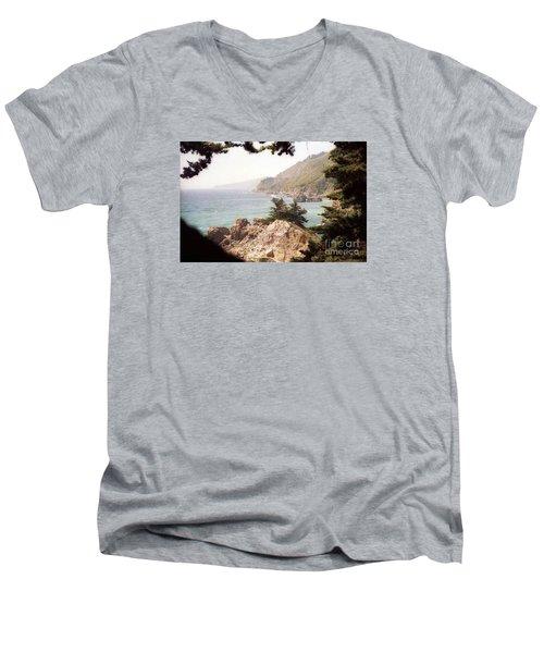 Calif Coast Drive Ocean View Men's V-Neck T-Shirt by Ted Pollard