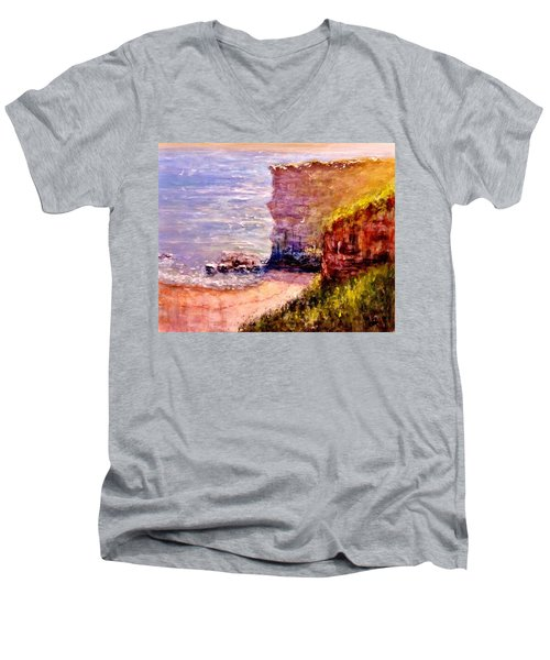 Men's V-Neck T-Shirt featuring the painting California Cliffs.. by Cristina Mihailescu