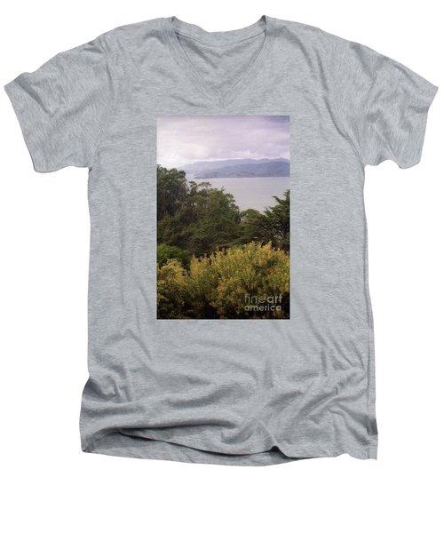 California Coast Fan Francisco Men's V-Neck T-Shirt by Ted Pollard