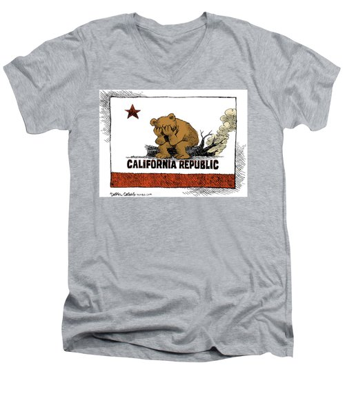 Men's V-Neck T-Shirt featuring the drawing California Fire Bear Grieves by Daryl Cagle