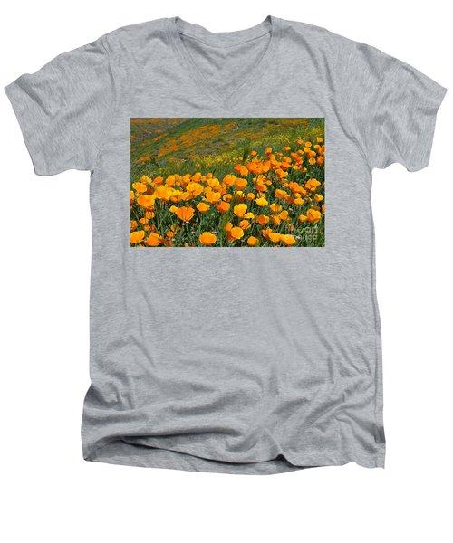 California Golden Poppies And Goldfields Men's V-Neck T-Shirt by Glenn McCarthy