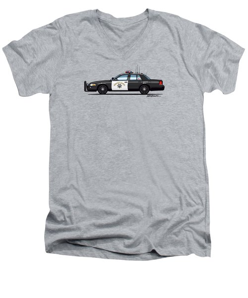 California Highway Patrol Ford Crown Victoria Police Interceptor Men's V-Neck T-Shirt by Monkey Crisis On Mars