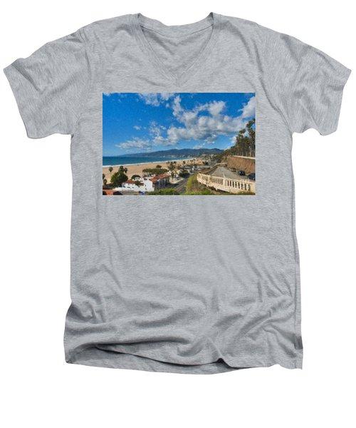 Men's V-Neck T-Shirt featuring the photograph California Incline Palisades Park Ca by David Zanzinger