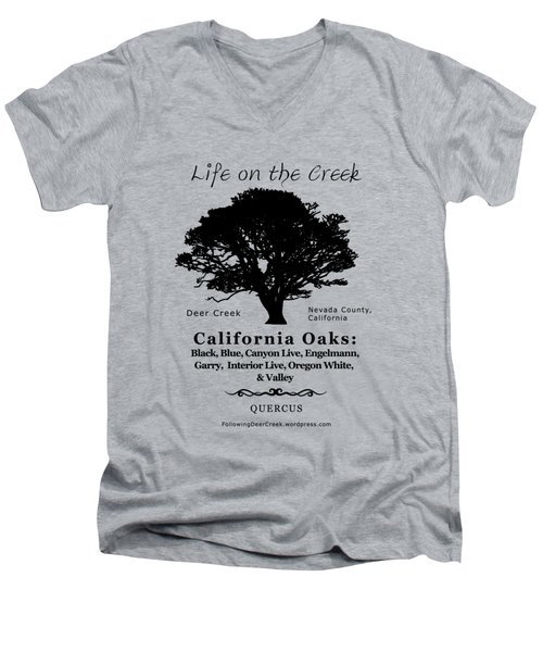 California Oak Trees - Black Text Men's V-Neck T-Shirt