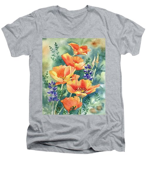 California Poppies In Bloom Men's V-Neck T-Shirt