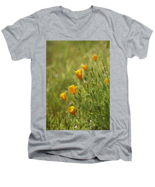 Men's V-Neck T-Shirt featuring the photograph California Poppy by Doug Herr