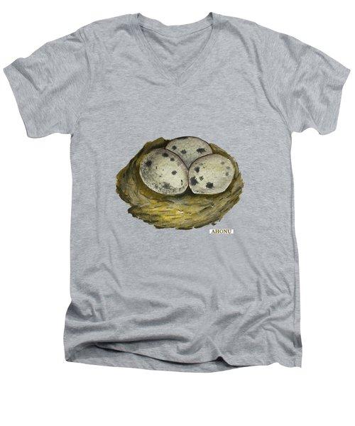California Quail Eggs In Nest Men's V-Neck T-Shirt