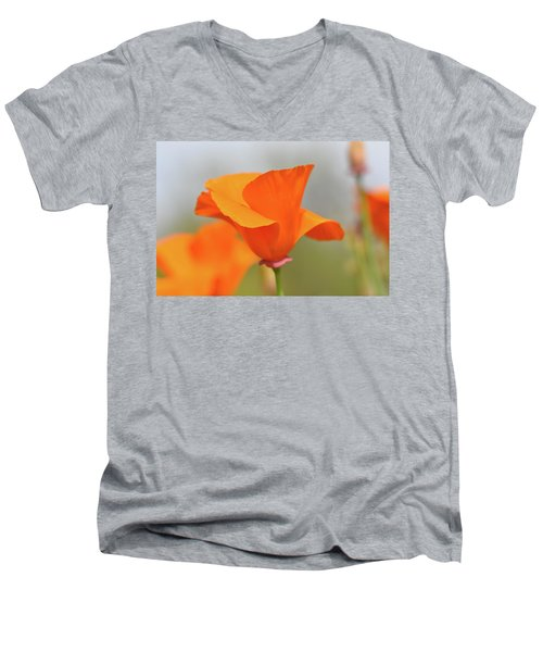 California State Poppy Macro Men's V-Neck T-Shirt
