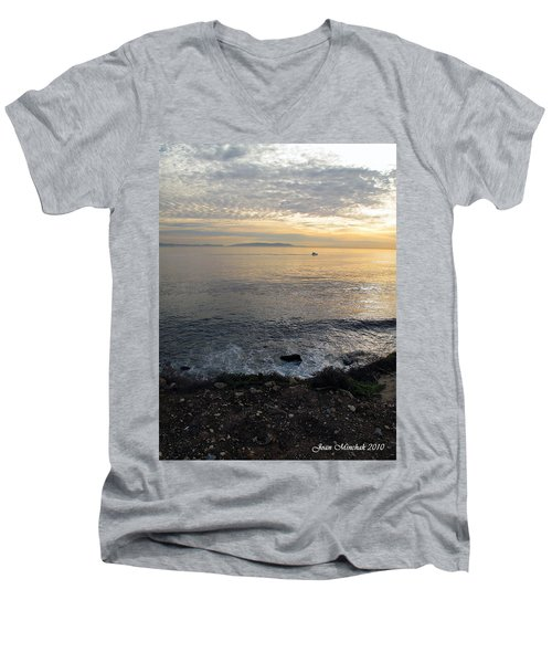 Men's V-Neck T-Shirt featuring the photograph California Sunset by Joan  Minchak