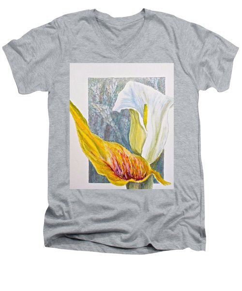 Men's V-Neck T-Shirt featuring the painting Calla Lily by Carolyn Rosenberger