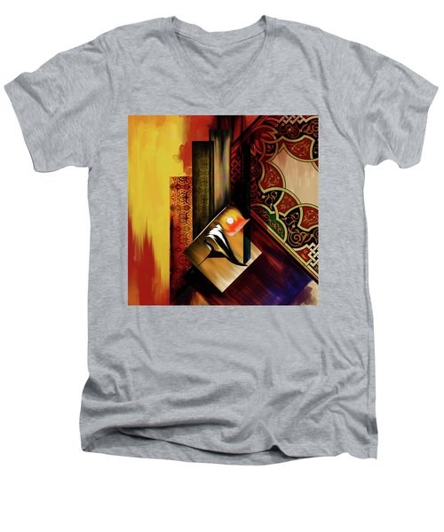 Men's V-Neck T-Shirt featuring the painting Calligraphy 102  2 1 by Mawra Tahreem