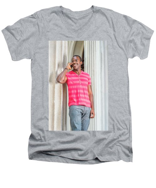 Man Calling Outside Men's V-Neck T-Shirt