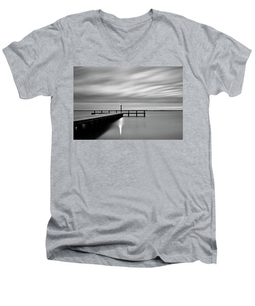 Calm Barnegat Bay New Jersey Black And White Men's V-Neck T-Shirt