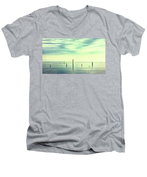 Men's V-Neck T-Shirt featuring the photograph Calm Bayshore Morning N0 1 by Gary Slawsky