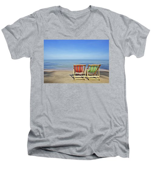 Men's V-Neck T-Shirt featuring the painting Calm Beach by Harry Warrick