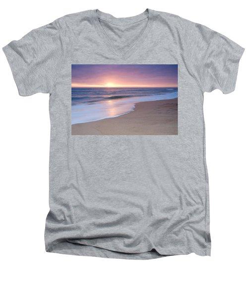 Calm Beach Waves During Sunset Men's V-Neck T-Shirt