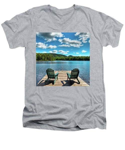 Calm In The Adirondacks Men's V-Neck T-Shirt by David Patterson