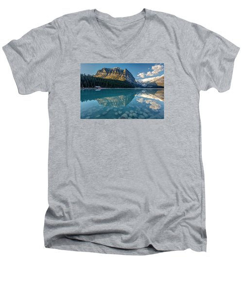 Calm Lake Louise Reflection Men's V-Neck T-Shirt by Pierre Leclerc Photography