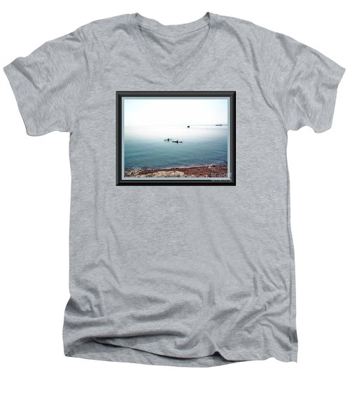 Men's V-Neck T-Shirt featuring the photograph Calm Lake Superior by Shirley Moravec