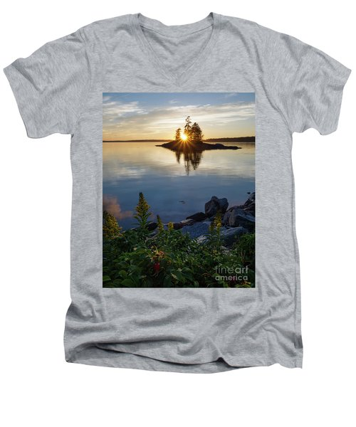 Calm Water At Sunset, Harpswell, Maine -99056-99058 Men's V-Neck T-Shirt by John Bald