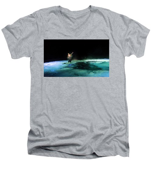 Men's V-Neck T-Shirt featuring the photograph Calming The Waters by Alex Lapidus