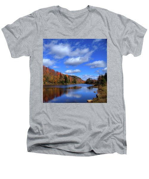 Calmness On Bald Mountain Pond Men's V-Neck T-Shirt by David Patterson