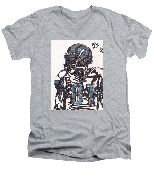 Calvin Johnson Jr 3 Men's V-Neck T-Shirt by Jeremiah Colley