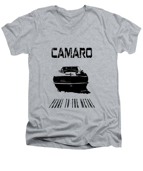 Men's V-Neck T-Shirt featuring the photograph Camaro Ss - Pedal To The Metal by Kim Gauge