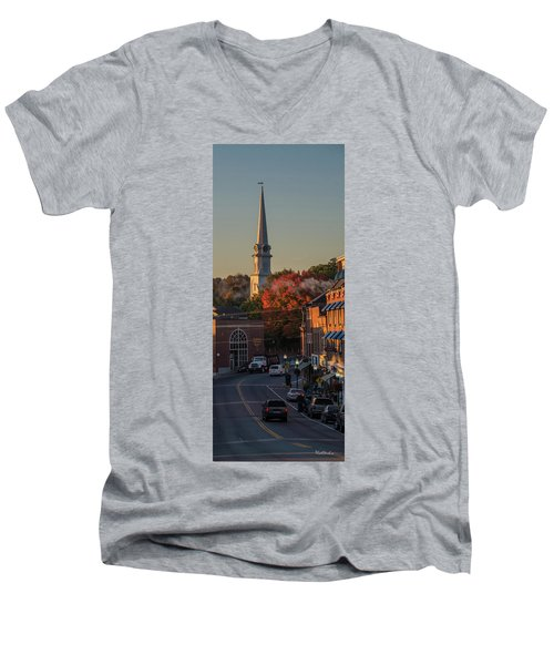 Men's V-Neck T-Shirt featuring the photograph Camden Steeple by Tim Kathka