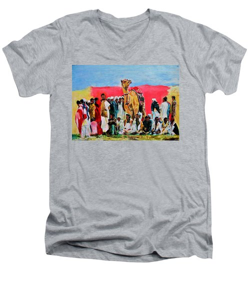 Camel Festival Men's V-Neck T-Shirt by Khalid Saeed
