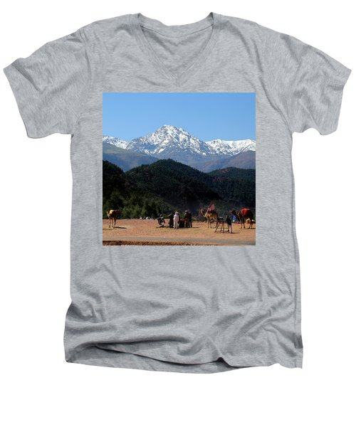Men's V-Neck T-Shirt featuring the photograph Camels 1 by Andrew Fare