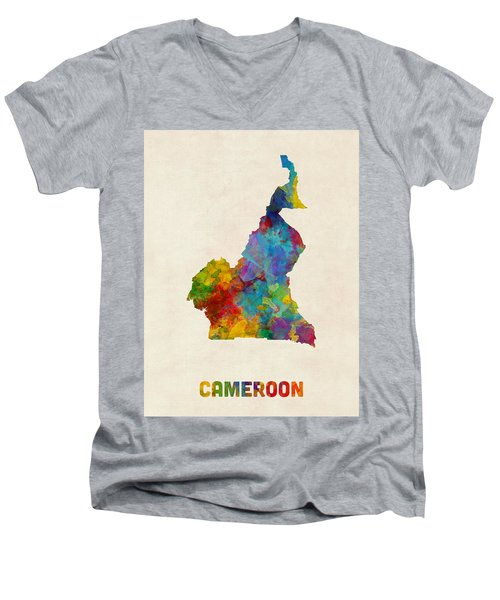 Men's V-Neck T-Shirt featuring the digital art Cameroon Watercolor Map by Michael Tompsett