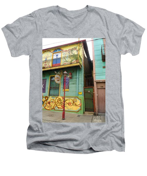Caminito La Boca Men's V-Neck T-Shirt by Silvia Bruno