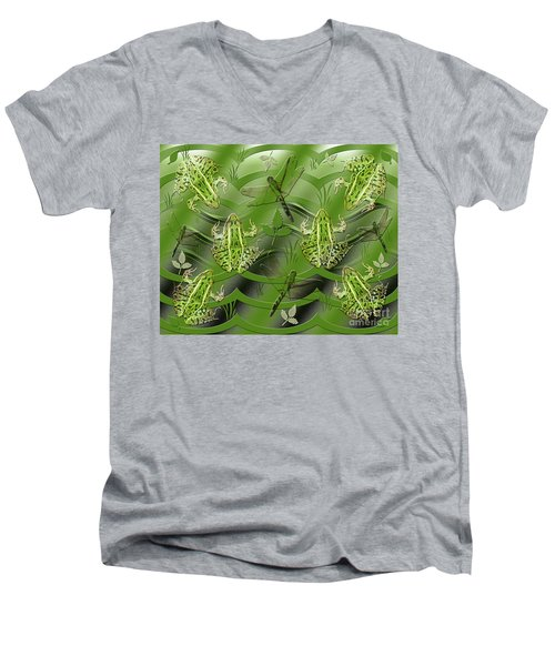 Men's V-Neck T-Shirt featuring the photograph Camo Frog Dragonfly by Rockin Docks Deluxephotos