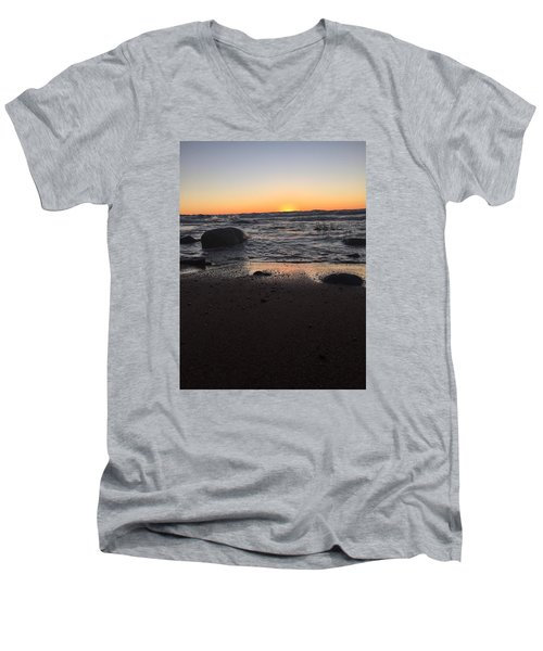 Men's V-Neck T-Shirt featuring the photograph Camp In The Fall by Paula Brown
