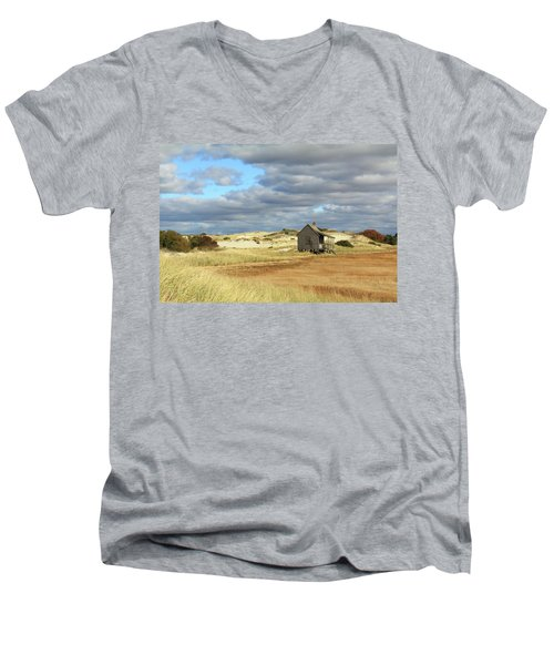 Men's V-Neck T-Shirt featuring the photograph Camp On The Marsh And Dunes by Roupen  Baker
