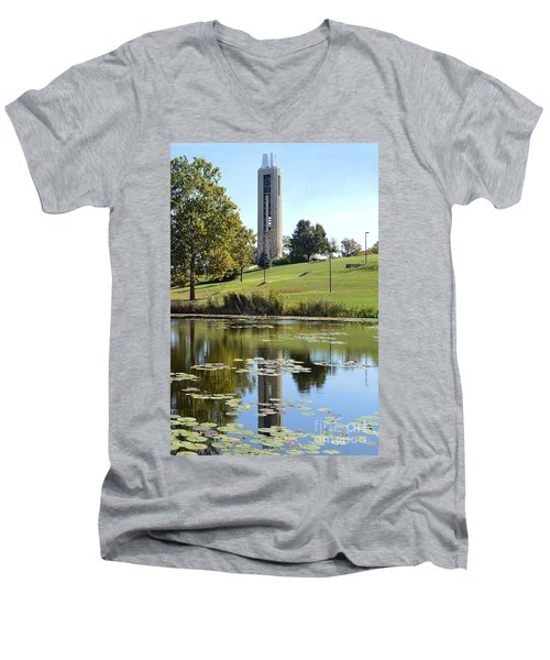 Campanile Reflection In Kansas Men's V-Neck T-Shirt by Catherine Sherman