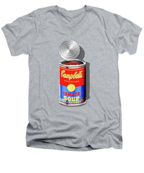 Campbell's Soup Revisited - Red And Blue   Men's V-Neck T-Shirt by Serge Averbukh