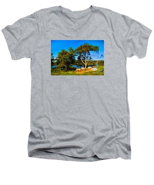 Campfire Lake Men's V-Neck T-Shirt by Rick Bragan
