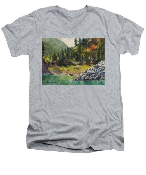 Camping On The Lake Shore Men's V-Neck T-Shirt