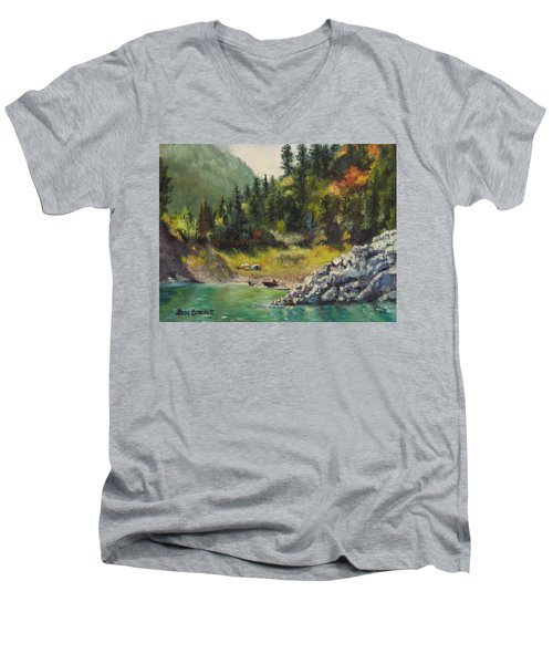 Camping On The Lake Shore Men's V-Neck T-Shirt