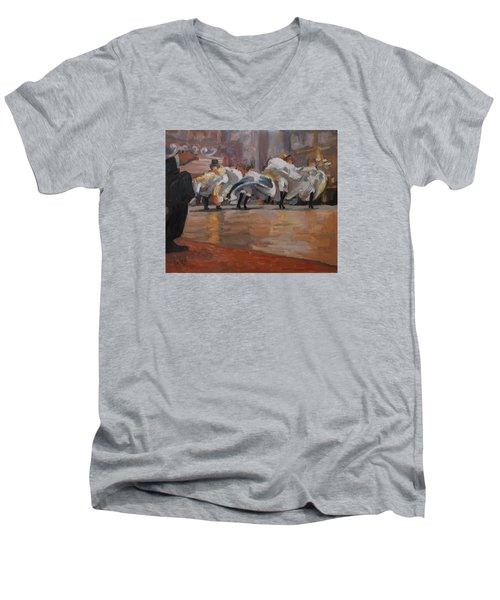 Men's V-Neck T-Shirt featuring the painting Can Can In The Moulin Rouge Paris by Nop Briex