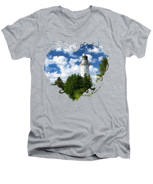 Cana Island Lighthouse Cloudscape In Door County Men's V-Neck T-Shirt