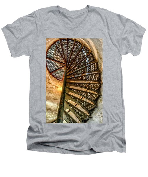 Cana Island Lighthouse Staircase Men's V-Neck T-Shirt
