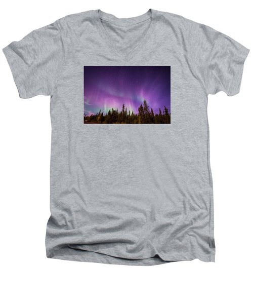 Canadian Northern Lights Men's V-Neck T-Shirt by Serge Skiba