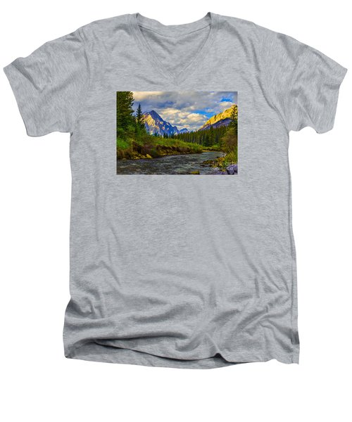Canadian Rocky Mountains Men's V-Neck T-Shirt by John Roberts