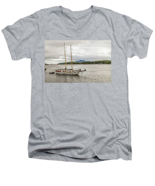 Men's V-Neck T-Shirt featuring the photograph Canadian Sailing Schooner by Timothy Latta